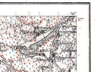 Reduced fragment of topographic map de--kdr--100k--M14--(1917)--N057-00_fE040-30--N056-45_fE041-00; towns and cities Tukums, Dzukste
