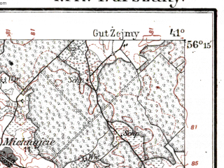 Reduced fragment of topographic map de--kdr--100k--M17--(1918)--N056-15_fE040-30--N056-00_fE041-00; towns and cities Kurshenay, Gruzdziai