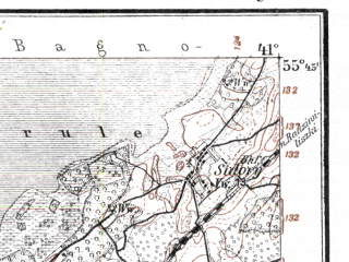 Reduced fragment of topographic map de--kdr--100k--M19--(1918)--N055-45_fE040-30--N055-30_fE041-00; towns and cities Kel'me, Liduvenay