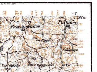 Reduced fragment of topographic map de--kdr--100k--M25--(1915)--N054-15_fE040-30--N054-00_fE041-00; towns and cities Suwalki, Trakiszki