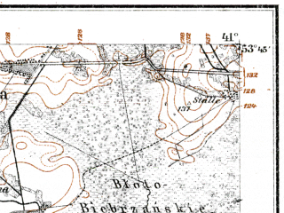 Reduced fragment of topographic map de--kdr--100k--M27--(1915)--N053-45_fE040-30--N053-30_fE041-00; towns and cities Suchowola