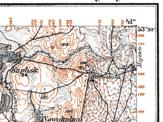 Reduced fragment of topographic map de--kdr--100k--M28--(1915)--N053-30_fE040-30--N053-15_fE041-00; towns and cities Czarna Bialostocka, Janow, Knyszyn