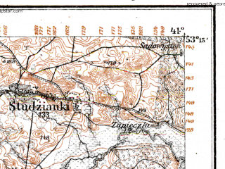 Reduced fragment of topographic map de--kdr--100k--M29--(1915)--N053-15_fE040-30--N053-00_fE041-00; towns and cities Bialystok