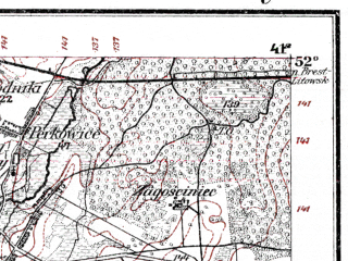 Reduced fragment of topographic map de--kdr--100k--M34--(1914)--N052-00_fE040-30--N051-45_fE041-00; towns and cities Lomazy
