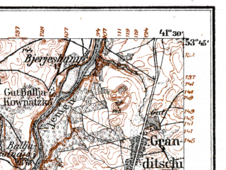Reduced fragment of topographic map de--kdr--100k--N27--(1915)--N053-45_fE041-00--N053-30_fE041-30; towns and cities Dabrowa Bialostocka, Kuznica