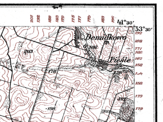 Reduced fragment of topographic map de--kdr--100k--N28--(1914)--N053-30_fE041-00--N053-15_fE041-30; towns and cities Sokolka, Krynki