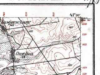 Reduced fragment of topographic map de--kdr--100k--N33--(1914)--N052-15_fE041-00--N052-00_fE041-30; towns and cities Brest, Terespol