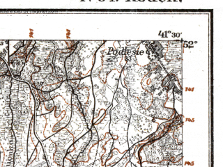 Reduced fragment of topographic map de--kdr--100k--N34--(1919)--N052-00_fE041-00--N051-45_fE041-30; towns and cities Slawatycze, Stradech