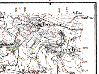 Reduced fragment of topographic map de--kdr--100k--N39--(1914)--N050-45_fE041-00--N050-30_fE041-30; towns and cities Laszczow