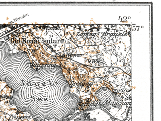 Reduced fragment of topographic map de--kdr--100k--O14--(1917)--N057-00_fE041-30--N056-45_fE042-00; towns and cities Riga, Olayne, Balozhi, Salaspils