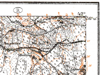 Reduced fragment of topographic map de--kdr--100k--O15--(1919)--N056-45_fE041-30--N056-30_fE042-00; towns and cities Iyetsava