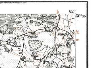 Reduced fragment of topographic map de--kdr--100k--O16--(1915)--N056-30_fE041-30--N056-15_fE042-00; towns and cities Bauska