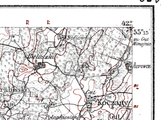 Reduced fragment of topographic map de--kdr--100k--O21--(1914)--N055-15_fE041-30--N055-00_fE042-00; towns and cities Ionava