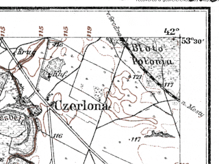 Reduced fragment of topographic map de--kdr--100k--O28--(1914)--N053-30_fE041-30--N053-15_fE042-00; towns and cities Lunno, Olekshitsa