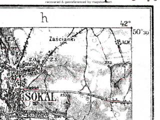 Reduced fragment of topographic map de--kdr--100k--O40--(1915)--N050-30_fE041-30--N050-15_fE042-00; towns and cities Chervonograd, Sokal', Sosnovka, Belz, Gornyak