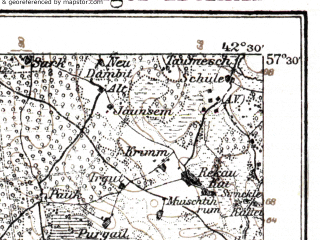 Reduced fragment of topographic map de--kdr--100k--P12--(1914)--N057-30_fE042-00--N057-15_fE042-30; towns and cities Igate, Saulkrasty, Skulte