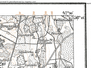 Reduced fragment of topographic map de--kdr--100k--P17--(1914)--N056-15_fE042-00--N056-00_fE042-30; towns and cities Birzhay, Pasvalis, Salociai