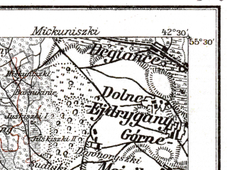 Reduced fragment of topographic map de--kdr--100k--P20--(1914)--N055-30_fE042-00--N055-15_fE042-30; towns and cities Ukmerge