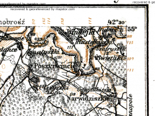 Reduced fragment of topographic map de--kdr--100k--P22--(1916)--N055-00_fE042-00--N054-45_fE042-30; towns and cities Elektrenay, Kayshyadoris, Vevis, Zhezhmaryay