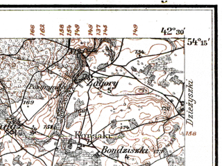 Reduced fragment of topographic map de--kdr--100k--P25--(1915)--N054-15_fE042-00--N054-00_fE042-30; towns and cities Marcinkonys, Varena