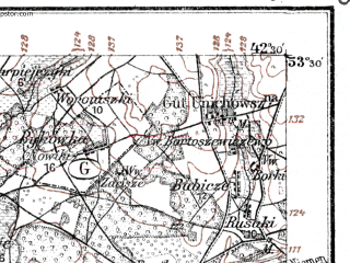 Reduced fragment of topographic map de--kdr--100k--P28--(1914)--N053-30_fE042-00--N053-15_fE042-30; towns and cities Mosty, Ross'