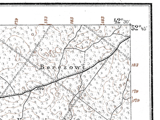 Reduced fragment of topographic map de--kdr--100k--P31--(1914)--N052-45_fE042-00--N052-30_fE042-30; towns and cities Pruzhany, Slobudka