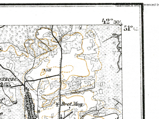 Reduced fragment of topographic map de--kdr--100k--P35--(1915)--N051-45_fE042-00--N051-30_fE042-30; towns and cities Ratno, Zamshany, Zdomyshel', Datyn'