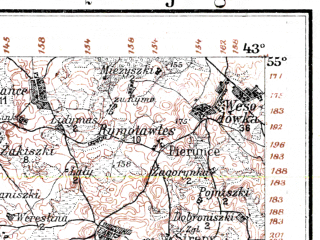 Reduced fragment of topographic map de--kdr--100k--Q22--(1914)--N055-00_fE042-30--N054-45_fE043-00; towns and cities Maisaigala, Visalaukyay