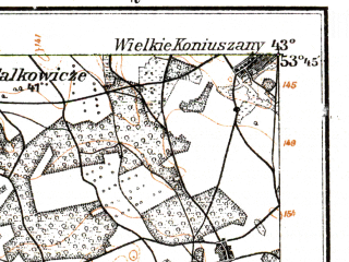 Reduced fragment of topographic map de--kdr--100k--Q27--(1916)--N053-45_fE042-30--N053-30_fE043-00; towns and cities Zheludok