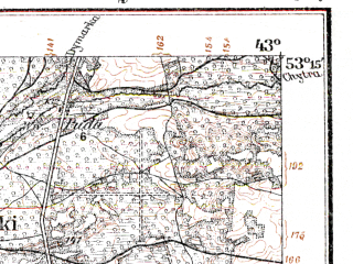 Reduced fragment of topographic map de--kdr--100k--Q29--(1914)--N053-15_fE042-30--N053-00_fE043-00; towns and cities Slonim, Derechin