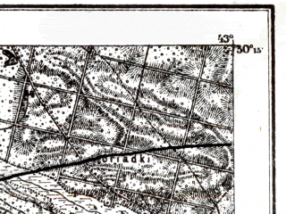 Reduced fragment of topographic map de--kdr--100k--Q41--(1915)--N050-15_fE042-30--N050-00_fE043-00; towns and cities Brody, Chervonoarmeysk, Druzhba, Krupets, Leshnev