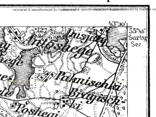 Reduced fragment of topographic map de--kdr--100k--R19--(1915)--N055-45_fE043-00--N055-30_fE043-30; towns and cities Utena, Svedasai, Uzpaliai