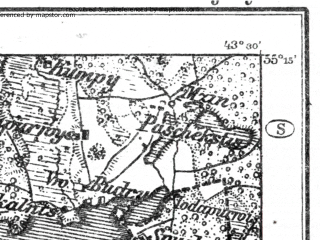 Reduced fragment of topographic map de--kdr--100k--R21--(1914)--N055-15_fE043-00--N055-00_fE043-30; towns and cities Moletay