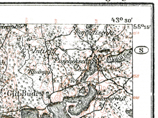 Reduced fragment of topographic map de--kdr--100k--R21--(1921)--N055-15_fE043-00--N055-00_fE043-30; towns and cities Moletay