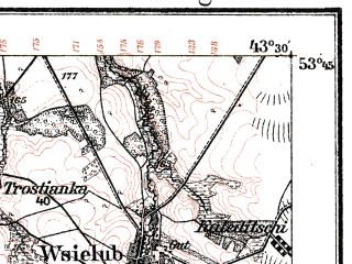 Reduced fragment of topographic map de--kdr--100k--R27--(1915)--N053-45_fE043-00--N053-30_fE043-30; towns and cities Novogrudok, Berezovka, Noviny