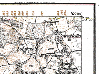 Reduced fragment of topographic map de--kdr--100k--R28--(1915)--N053-30_fE043-00--N053-15_fE043-30; towns and cities Dyatlovo, Molchad, Novoyel'nya