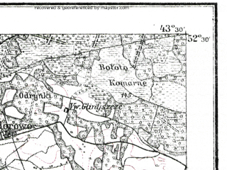 Reduced fragment of topographic map de--kdr--100k--R32--(1915)--N052-30_fE043-00--N052-15_fE043-30; towns and cities Motol