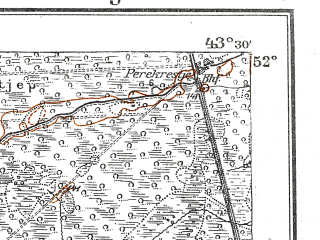 Reduced fragment of topographic map de--kdr--100k--R34--(1917)--N052-00_fE043-00--N051-45_fE043-30; towns and cities Dol'sk, Kukhche, Loknitsa