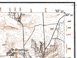 Reduced fragment of topographic map de--kdr--100k--R40--(1915)--N050-30_fE043-00--N050-15_fE043-30; towns and cities Dubno, Mlinov, Rachin, Smorva, Bokiyma