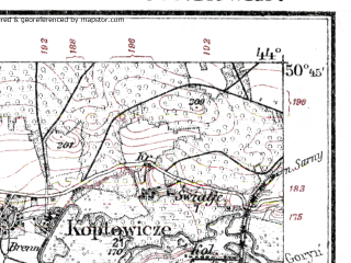 Reduced fragment of topographic map de--kdr--100k--S39--(1915)--N050-45_fE043-30--N050-30_fE044-00; towns and cities Rovno, Zdolbunov, Zdolbitsa, Klevan', Shpanov