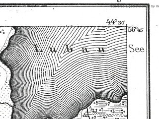 Reduced fragment of topographic map de--kdr--100k--T15--(1917)--N056-45_fE044-00--N056-30_fE044-30; towns and cities Atasiene, Varaklyany