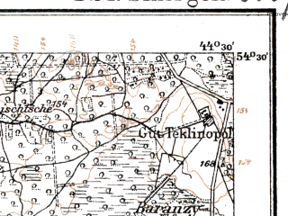 Reduced fragment of topographic map de--kdr--100k--T24--(1917)--N054-30_fE044-00--N054-15_fE044-30; towns and cities Smorgon'