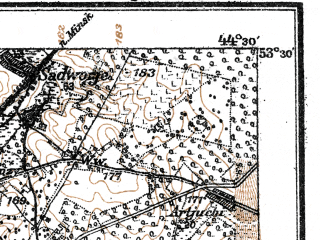 Reduced fragment of topographic map de--kdr--100k--T28--(1917)--N053-30_fE044-00--N053-15_fE044-30; towns and cities Stolbtsy, Mir