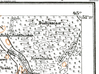 Reduced fragment of topographic map de--kdr--100k--U37--(1917)--N051-15_fE044-30--N051-00_fE045-00; towns and cities Borovoye, Karpilovka, Kisorichi
