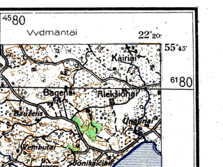 Reduced fragment of topographic map de--kdr4--100k--001--(1944)--N055-45_E020-50--N055-15_E022-20; towns and cities Klaipeda, Taurage, Shilute, Neringa, Prekule