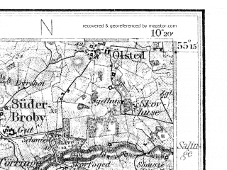 Reduced fragment of topographic map de--kdr4--100k--003--(1941)--N055-15_E009-20--N054-45_E010-20 in area of Arreskov So, Hostrup So; towns and cities Flensburg, Sonderborg, Hadersley, Abenra, Faborg