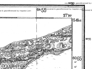 Reduced fragment of topographic map de--kdr4--100k--011--(1940)--N054-45_E016-20--N054-15_E017-20; towns and cities Slupsk, Darlowo, Slawno, Ustka, Smoldzino