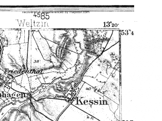 Reduced fragment of topographic map de--kdr4--100k--036--(1936)--N053-45_E012-20--N053-15_E013-20 in area of Muritz, Kolpinsee, Tollensesee; towns and cities Neubrandenburg, Neustrelitz, Waren, Malchin