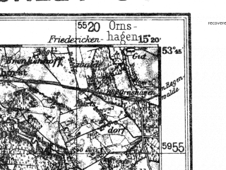 Reduced fragment of topographic map de--kdr4--100k--038--(1937)--N053-45_E014-20--N053-15_E015-20; towns and cities Szczecin, Stargard Szczecinski, Police, Goleniow, Gryfino