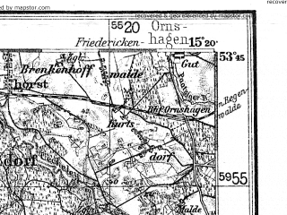 Reduced fragment of topographic map de--kdr4--100k--038--(1940)--N053-45_E014-20--N053-15_E015-20; towns and cities Szczecin, Stargard Szczecinski, Police, Nowogard, Goleniow